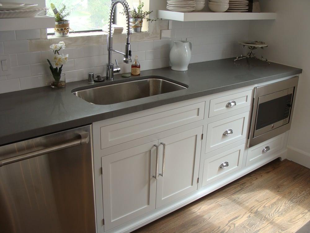 Custom Quartz Countertops : Custom Shaker with inset doors and concrete gray quartz countertop ...
