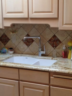kitchen backsplash with copper diamond accents yelp
