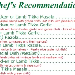 Farhana Indian Restaurant and Take Away - Menu - Chef's Recommendations