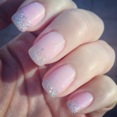 Glitter tipped gel manicure | Yelp