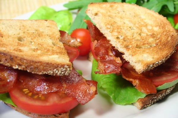 California BLT Sandwich - Bacon, Lettuce, Tomato, Avocado, Mayo on ...