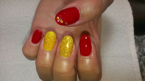 My Iron Man inspired nails. Shellac over acrylic. | Yelp