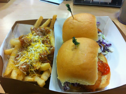 Buffalo Chicken Sliders and a side of Chili Cheese Fries | Yelp