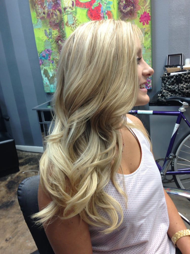 All over pale blonde highlights w lots of layers yelp