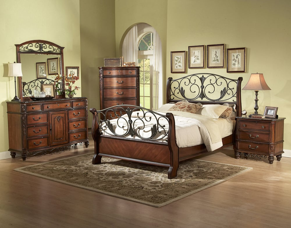 Metal wood sleigh bed room set queen or king size for Metal bedroom furniture