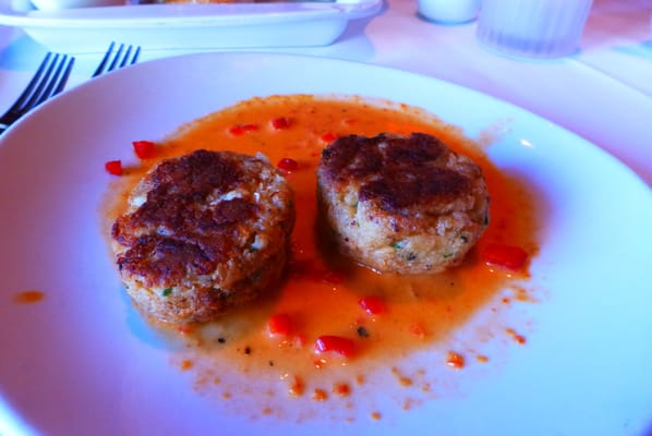 Jumbo Lump Crab Cakes (roasted red pepper and lime butter sauce) $17 ...
