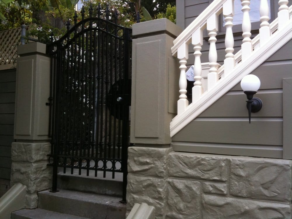 New Exterior Stairs Railing Front Gate And Decorative Concrete Pillars Yelp