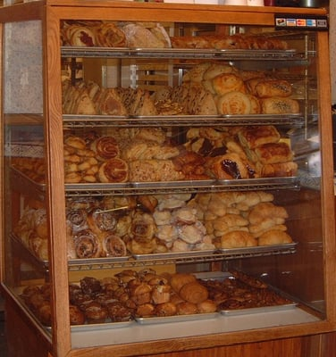 A Full Pastry Case At the Bread Garden Bakery