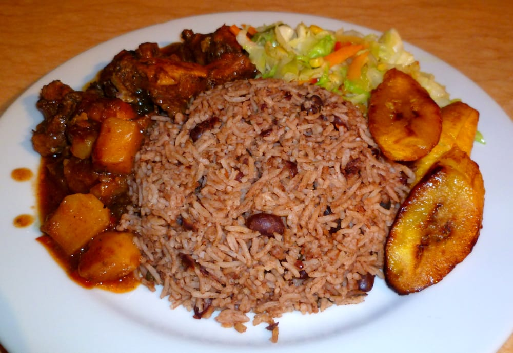 Brown Chicken Stew with Rice & Beans, Steamed Cabbage, Plantains ...
