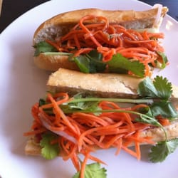 Shredded roast pork banh mi