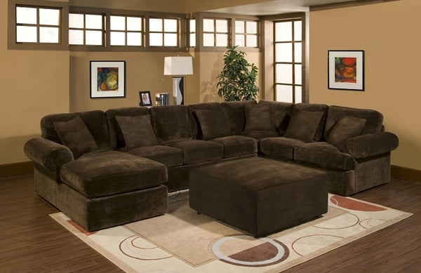 Large chaise sectional with cocktail ottoman in super for Brown sectional with chaise