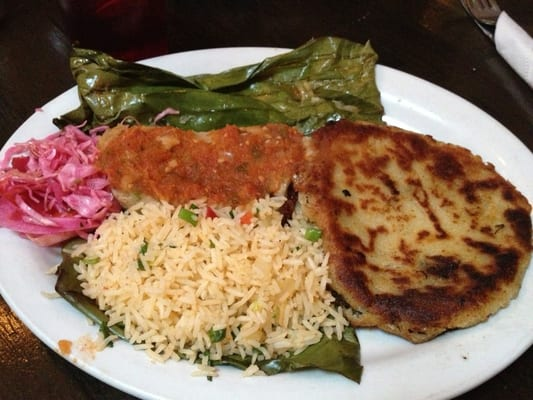 Vegetarian tamale wrapped in banana leaf and amazing steak papusa ...
