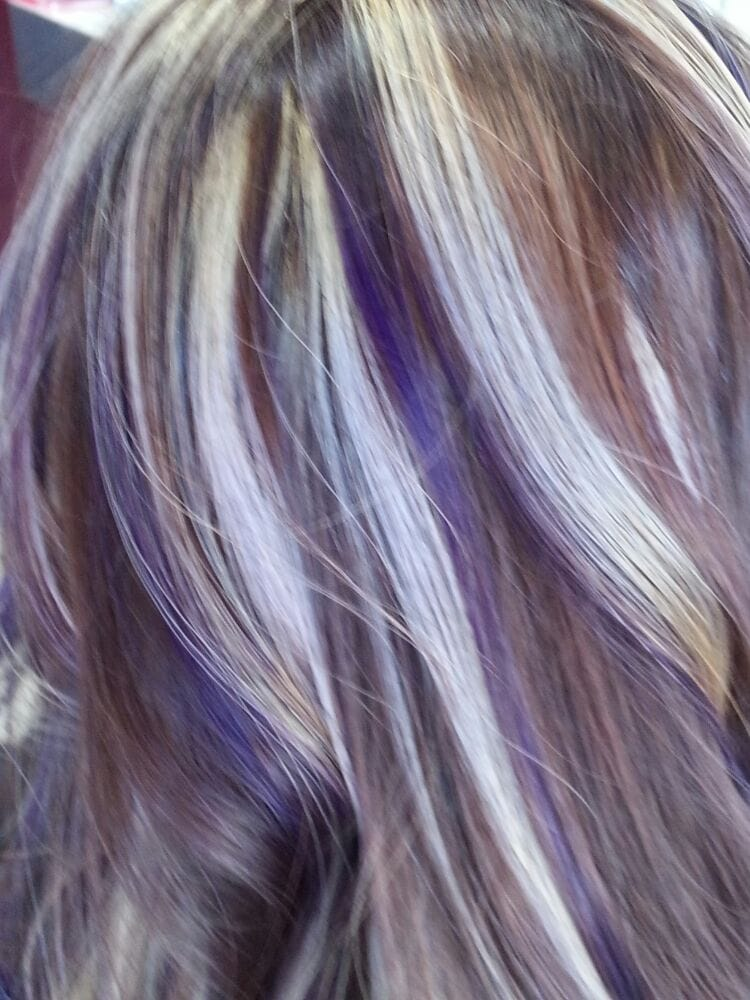 Highlights With Blonde And Purple Chunky