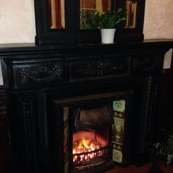 The upstairs open fire at the Welly - there's one downstairs too