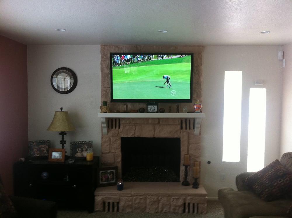 Custom Install Tv Over Stone Fireplace Yelp