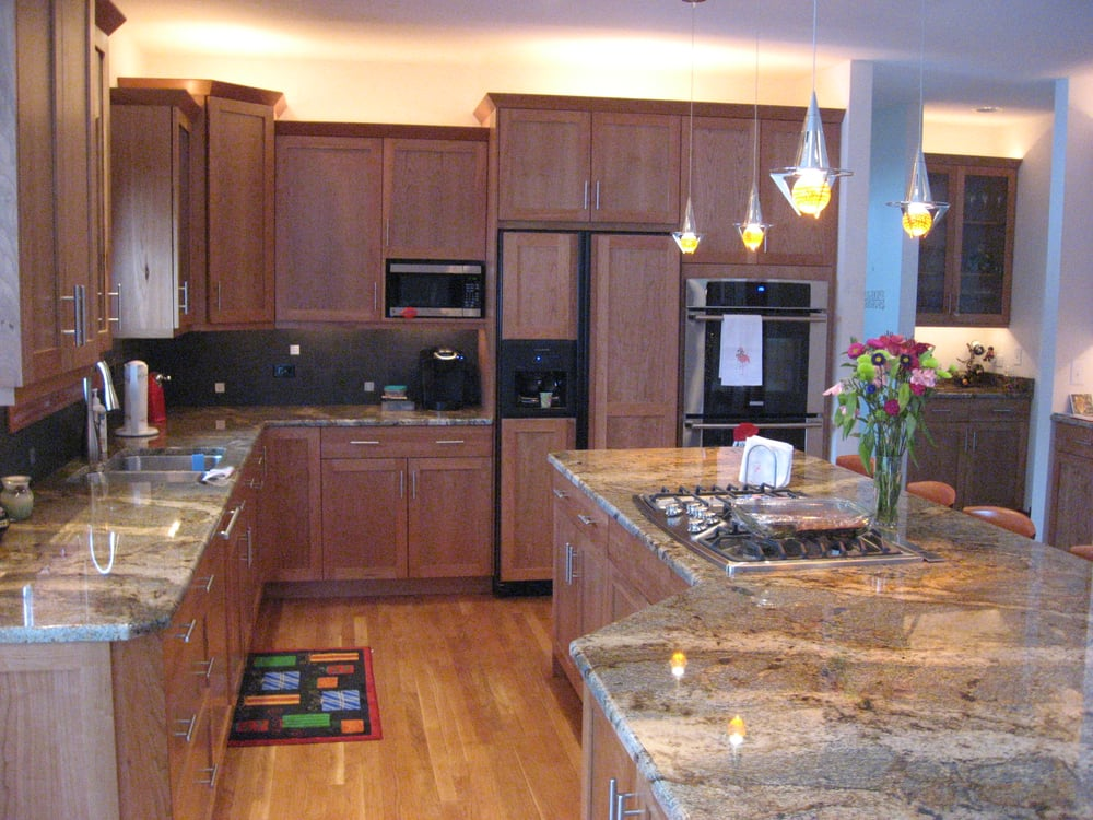 Contemporary Kitchen With Natural Cherry Cabinets Lapidus Granite Under Cabinet Lighting