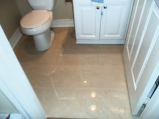 Bathroom Floor With Polished Porcelain Tile Not As Slippery As People Think A