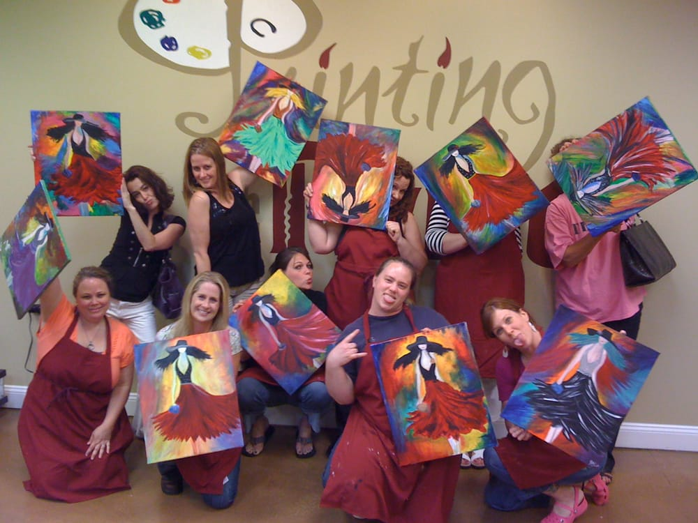Girl 39 s night out painting with a twist charlotte yelp for Painting with a twist charlotte nc