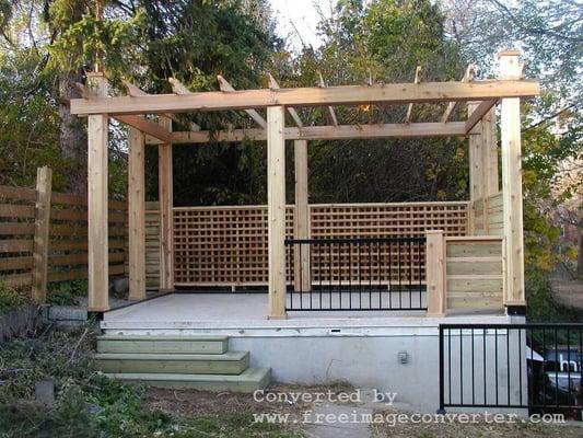 Cedar Pergola over deck/garage | Yelp