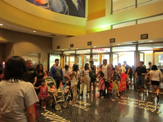 the long line for the cars 2 free screening on sat! everybody loves free ...