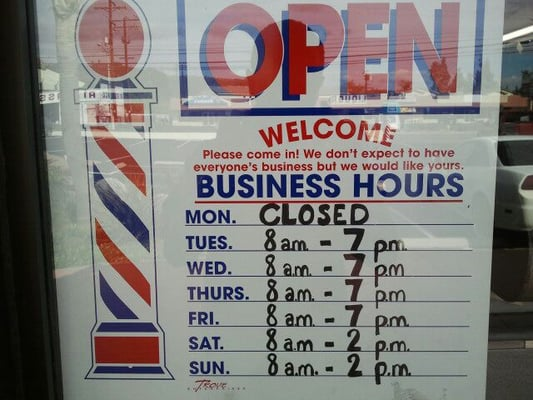 Barber Shop Hours : ... Diego. Barber shop hours. check these traditional barbers out. Yelp