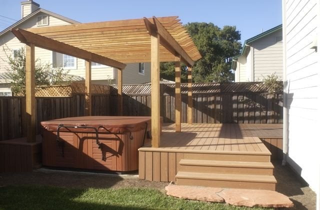 Composite Deck With Redwood Arbor Over A Hot Tub Yelp