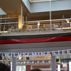 Model ship inside the restaurant.