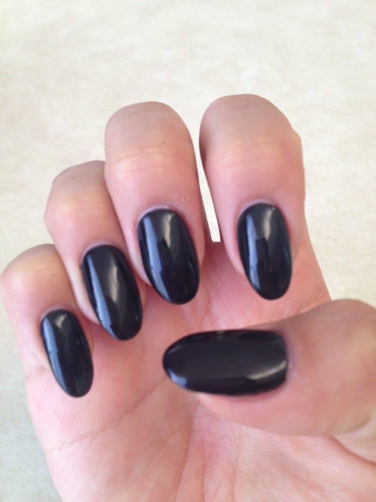 Black Pointed Nails Black pointed gel nail...