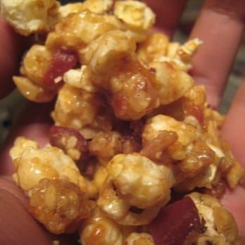 ... Popcorn, Cashews, and Bacon, covered in Caramel -- with a Cayenne kick