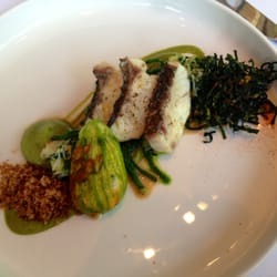 Bakes Stone Bass, Scallop Filled Courgette Flower, Crab and Samphire