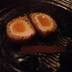 Smoked rabbit and crayfish Scottish egg
