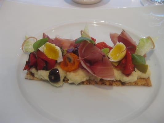 Salt cod brandade 'Tartine,' ham, peppers, olives, tomatoes and quail...