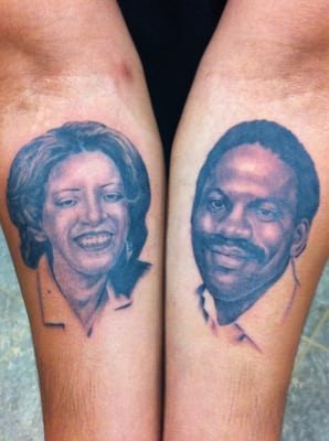 Mom and dad portraits by alan yelp for Pierced hearts tattoo parlor
