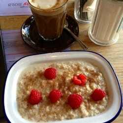 Breakfast - porridge and a soy latte