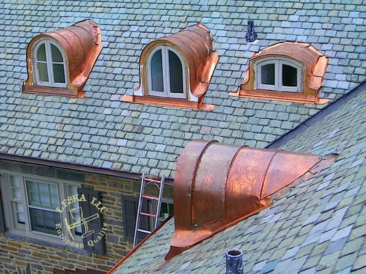 Slate Roof With Custom Copper Round Dormers Made By Leska