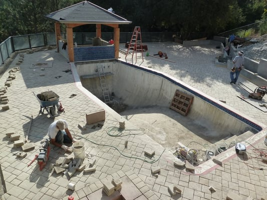 Laying Monarch Stone Pavers around Pool Deck, Cupertino | Yelp