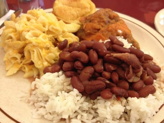 Red Beans & Rice, Mac & Cheese, corn bread and yams | Yelp