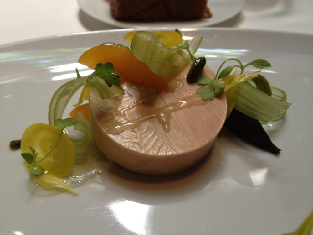 Moulard duck foie gras au torchon, apricot, celery branch, pistachios ...