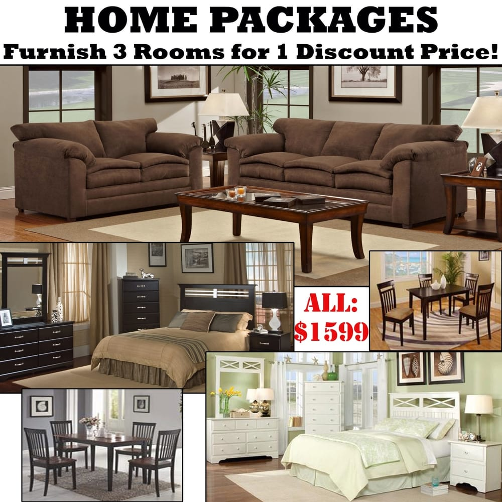 Home packages with 3 rooms of furniture for 1 discount for Furniture 3 room package