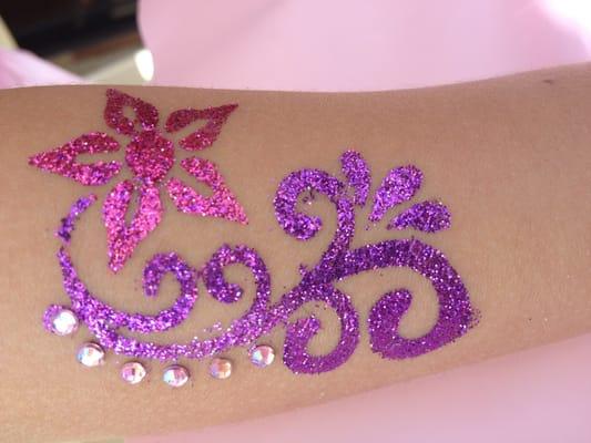 Glitter tattoos . All little girls (&boys) go NUTS over