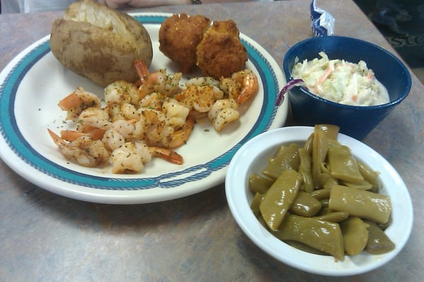 Sauteed shrimp, green beans, cole slaw, baked potato and hushpuppies ...