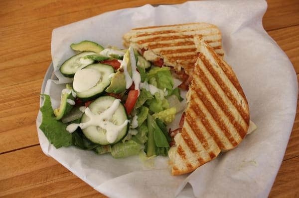 Bacon Chicken Ranch Panini w/ BLTA side salad | Yelp