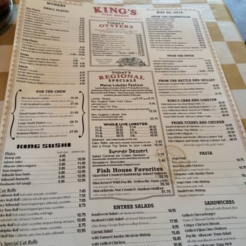 Menu for King s fish house rancho cucamonga