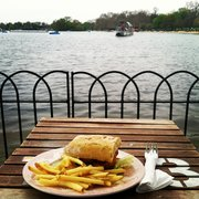 Fish finger buttie, chips, and the perfect view!