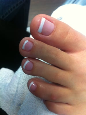 Gel Polish French Manicure on freshly pedicured toes | Yelp