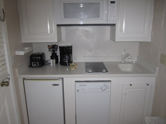 studio kitchenette small fridge microwave coffee maker