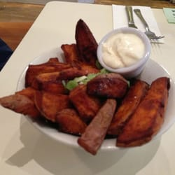 Sweet potato fries with sour cream.