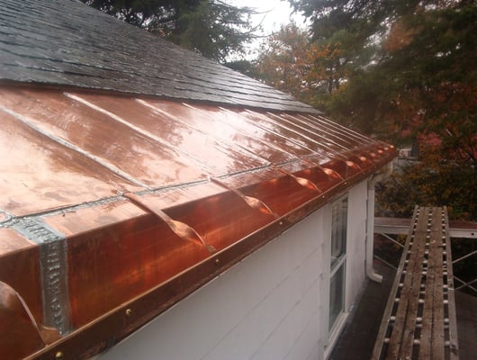 Custom Copper Gutter With Copper Ice Belt For Ice Damming