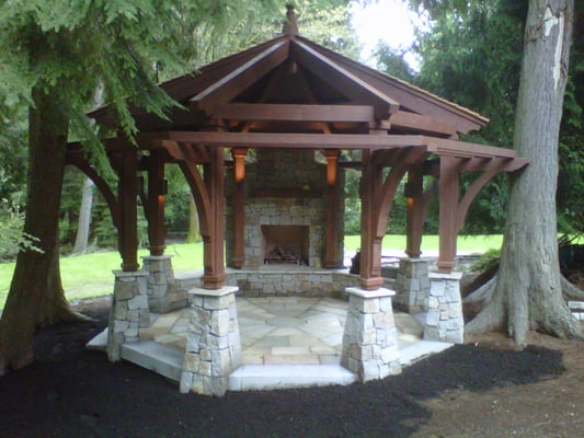Gazebo outdoor fireplace yelp for Outdoor gazebo plans with fireplace