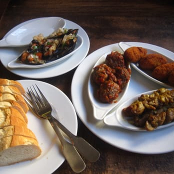 Tapas - Meatballs, Chicken Skewers, Potato Balls, Mussels